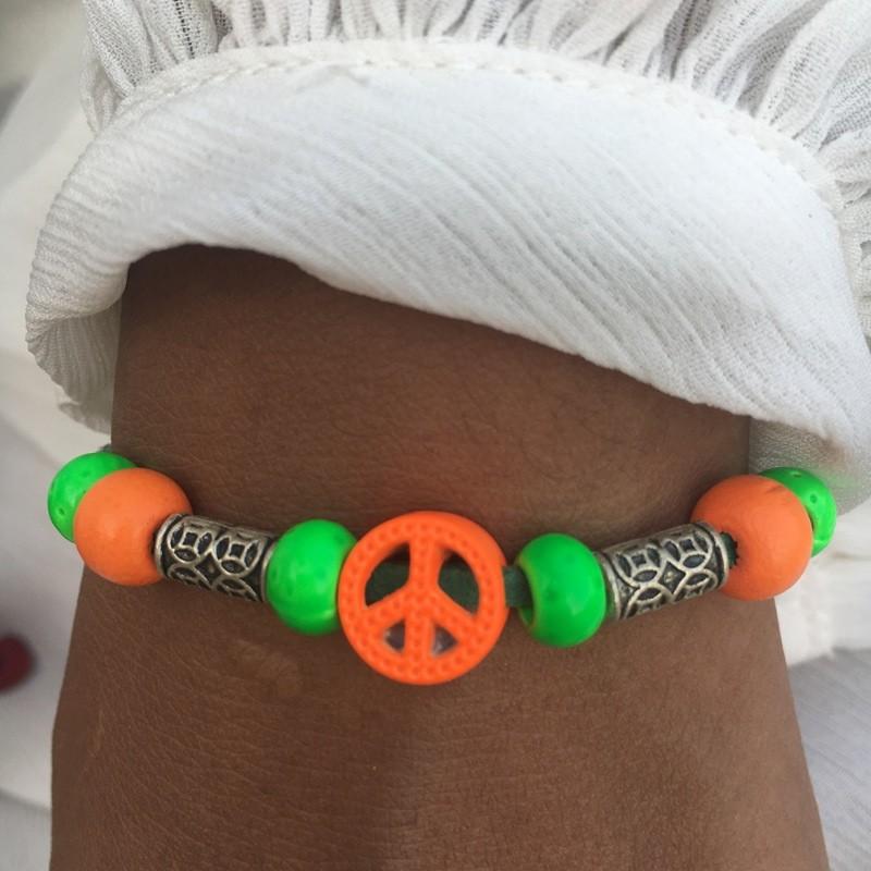 Bracelet AVATAR orange fluo et vert fluo