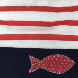 Bonnet le marinier rouge revers marine avec sardine en surpiqure