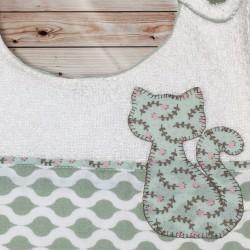 Bavoir chaton vert d'eau