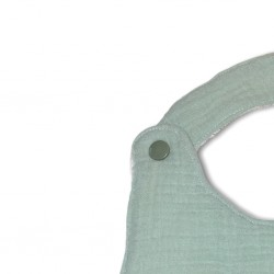 Bavoir chaton vert d'eau verso gaze de coton vert d'eau