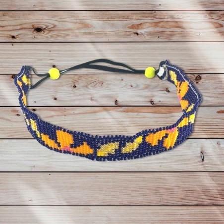 Headband caraïbes flower bleu électrique