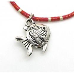 Bracelet BAHIA en perles japonaises miyuki rouge et argent/breloque poisson