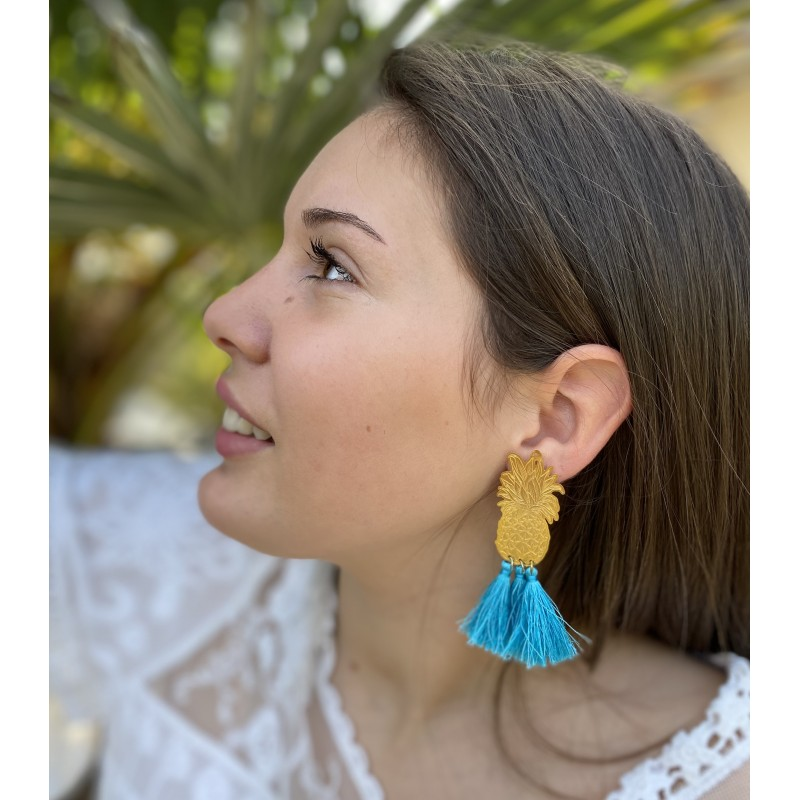 BARCELONE Boucles d'oreilles bleu turquoise