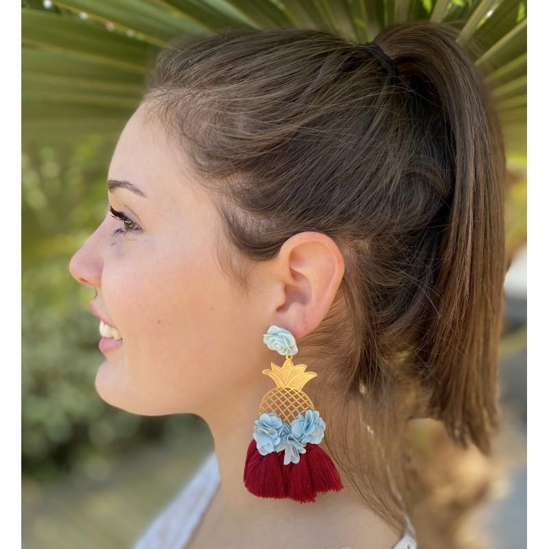 BELIZE Boucles d'oreilles bleu ciel et bordeaux