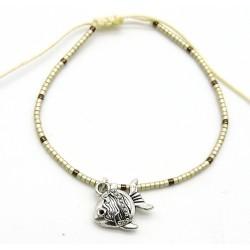 Bracelet BAHIA en perles japonaises miyuki argent et chocolat/breloque poisson