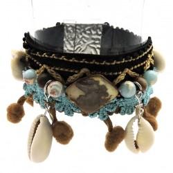 Bracelet AGATA Camel/Bleu ciel