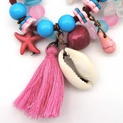 ADELINA bracelet triple rang Rose/Turquoise fermoir aimant
