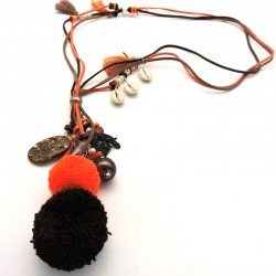 ANAK Collier chocolat/orange