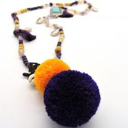 ANOUK Collier sautoir violet et jaune