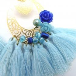 BASTIA Boucles d'oreilles bleu ciel, bleu électrique et doré