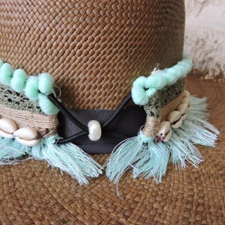 Ceinture de chapeau vert tendre et kaki