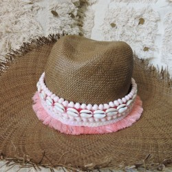 Ceinture de chapeau écru et rose tendre