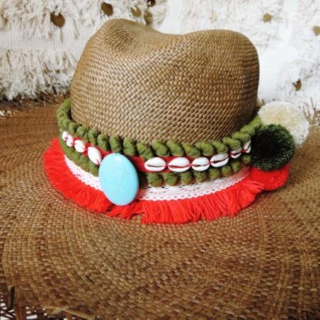 Ceinture à chapeau Kaki/Rouge