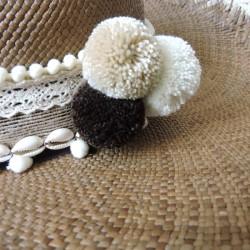 Ceinture à chapeau Ecru/Nacre