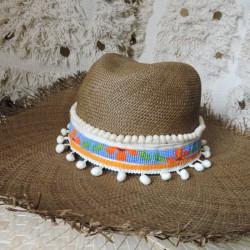 Ceinture à chapeau ALMANAC écru et fleur orange