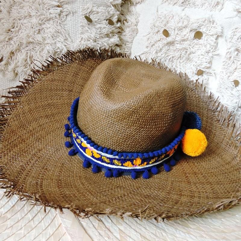 Ceinture à chapeau ALEJANDRA Bleu marine et jaune
