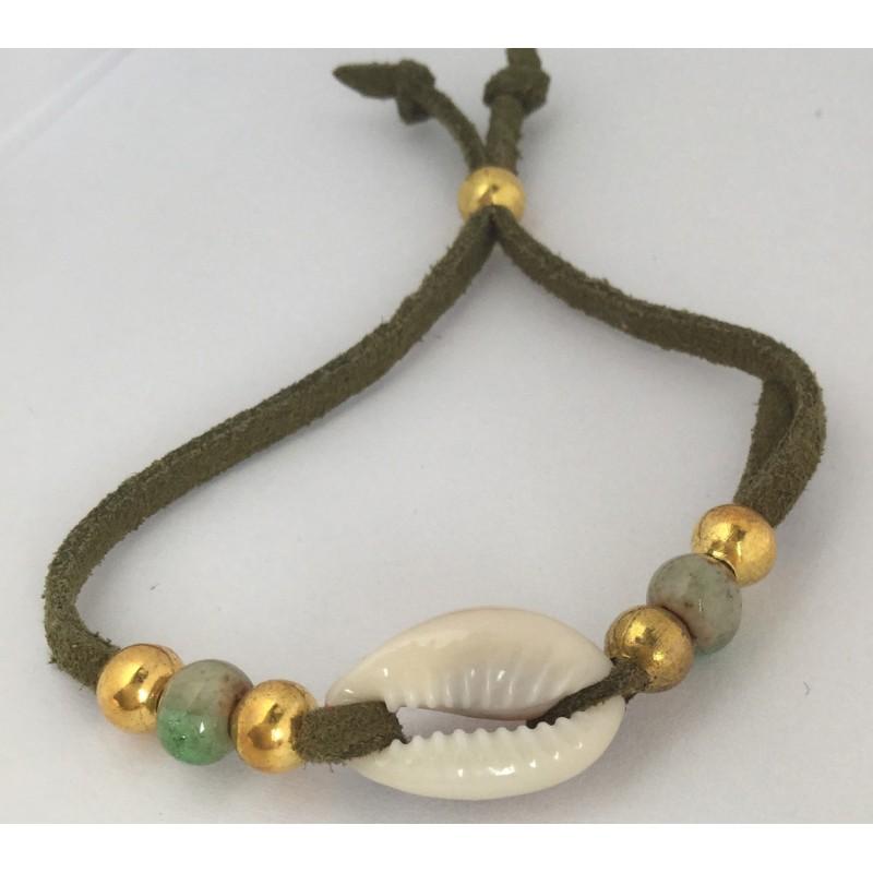 Bracelet ALEGRA ajustable bordeaux perles dorées