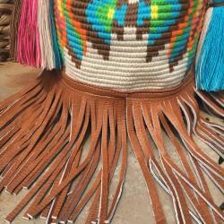 sac femme wayuu en coton et cuir bandoulière large frange en cuir