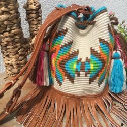 sac a main  femme wayuu en coton et cuir bandoulière été 2020