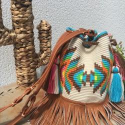 sac a main femme wayuu en coton et cuir bandoulière Mochila