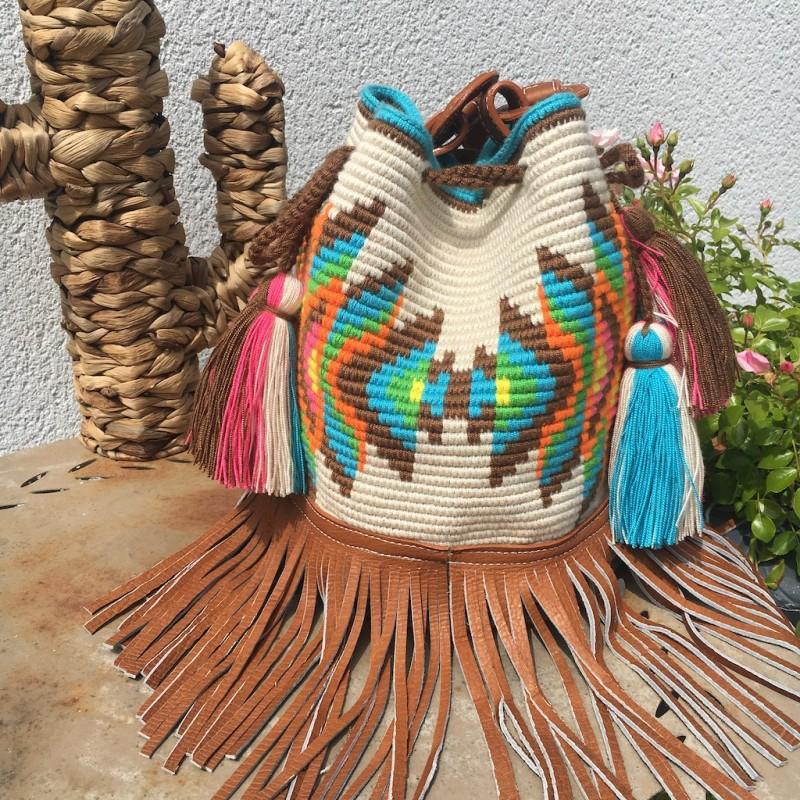 sac femme wayuu en coton et cuir bandoulière