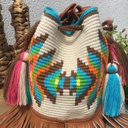 magnifique sac a main pour femme femme wayuu en coton et cuir bandoulière