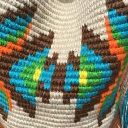 sac femme wayuu en coton et cuir bandoulière detail motifs bohème